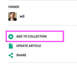 Add to collection button